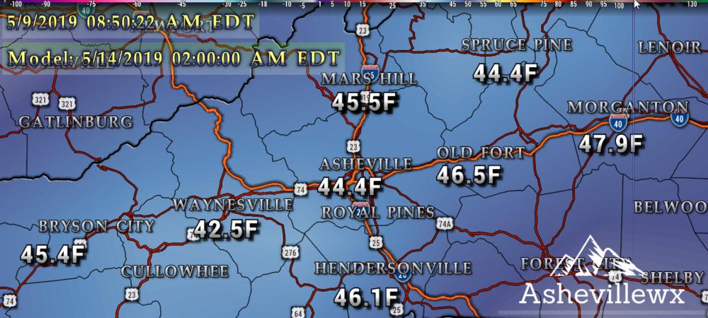 GFS Temperatures Tuesday AM