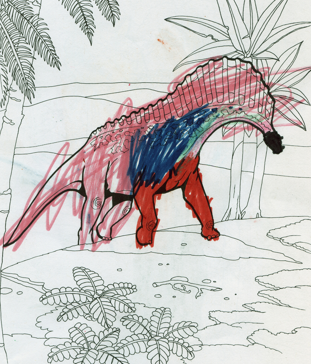 Dinosaurs!  juxtaposes the child's drawing hand with the Jurassic and Cretaceous. The act of coloring obscures and restructures the original templates.   Dinosaurs! (Amargasaurus) ,  2016.   48 x 36 in.  Digital Print.