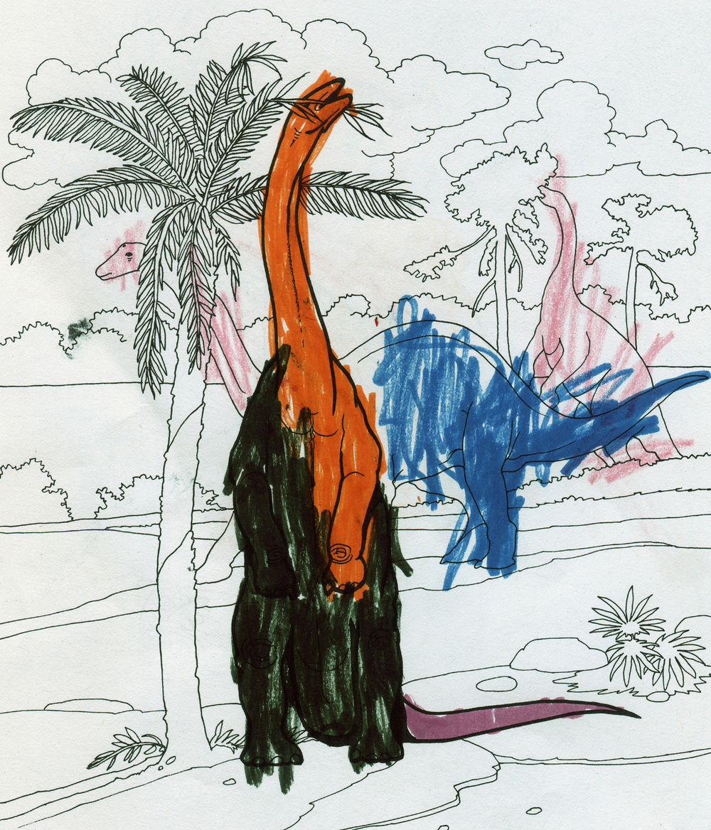Dinosaurs!  juxtaposes the child's drawing hand with the Jurassic and Cretaceous. The act of coloring obscures and restructures the original templates.   Dinosaurs! (Apatosaurus) ,  2016.   48 x 36 in.  Digital Print.