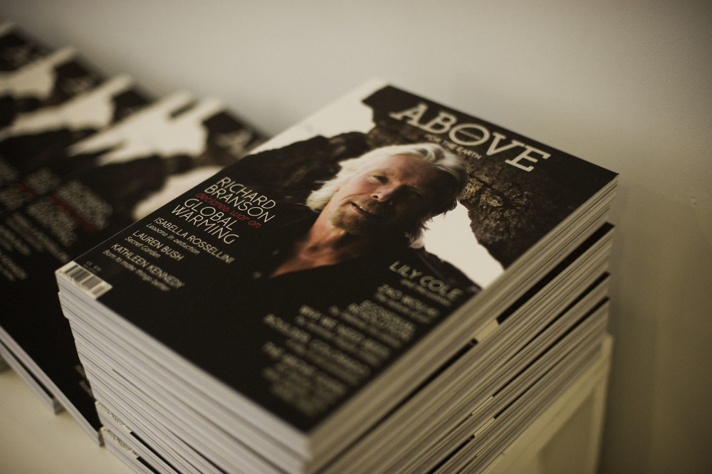 Samples of Above's fourth issue with Richard Branson hot off the press. Photography by: Shawn Brackbill
