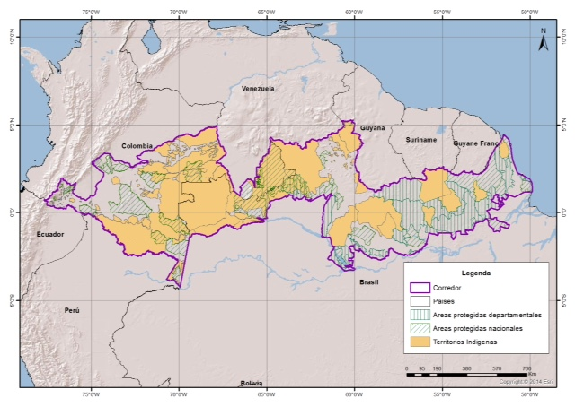The proposed indigenously-owned corridor spanning across the Amazon Rainforest from the Andes in Ecuador and Peru to the Atlantic. Colombia already has 55% of the Amazon Rainforest under indigenous ownership. Map provided by: Fundacion Gaia Amazonas