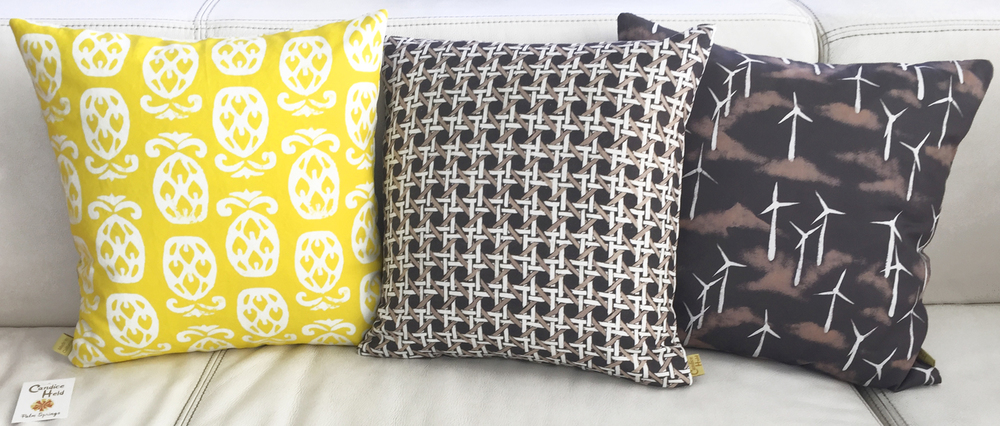 Pineapple/Cane Print and Wind Turbines/Concrete Block Reversible Pillows