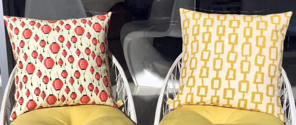 Lantern / Chain Print Reversible Pillows