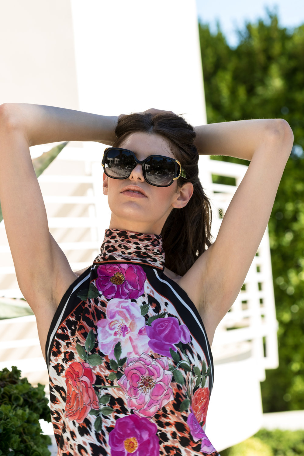 RAQUEL SILK SCARF HALTER TOP IN ROSE LEOPARD LTD ED PRINT
