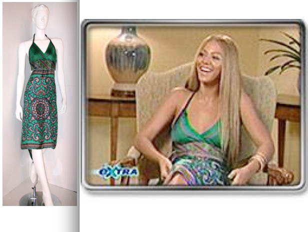 Beyoncé wearing a Candice Held Vintage scarf dress on Extra