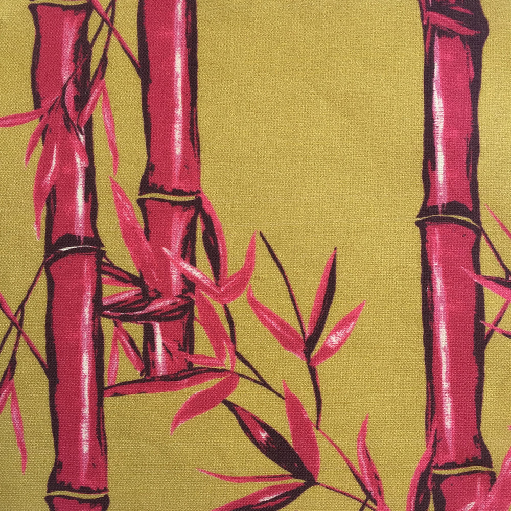 Bamboo Floral in GOLD / FUSCHIA  CHINOISERIE COLLECTION