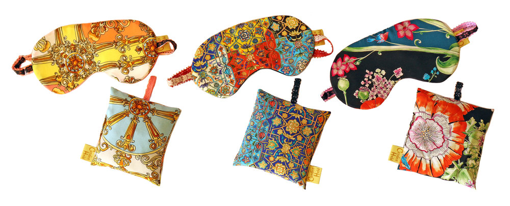SILK SLEEP MASKS WITH MATCHING ORGANIC LAVENDER SACHETS - A touch of luxury… also perfect as Hostess Gifts!
