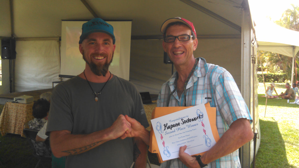 Mike Abrams with Daniel Walsh of Kupono Sodaworks, LLC, second place winner of the 2nd Annual Maui Food Technology Center's Food Product Contest held on April 6, 2013.