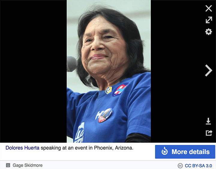 Wikimedia Commons screenshot showing More Details button under expanded image of Dolores Huerta by Gage Skidmore