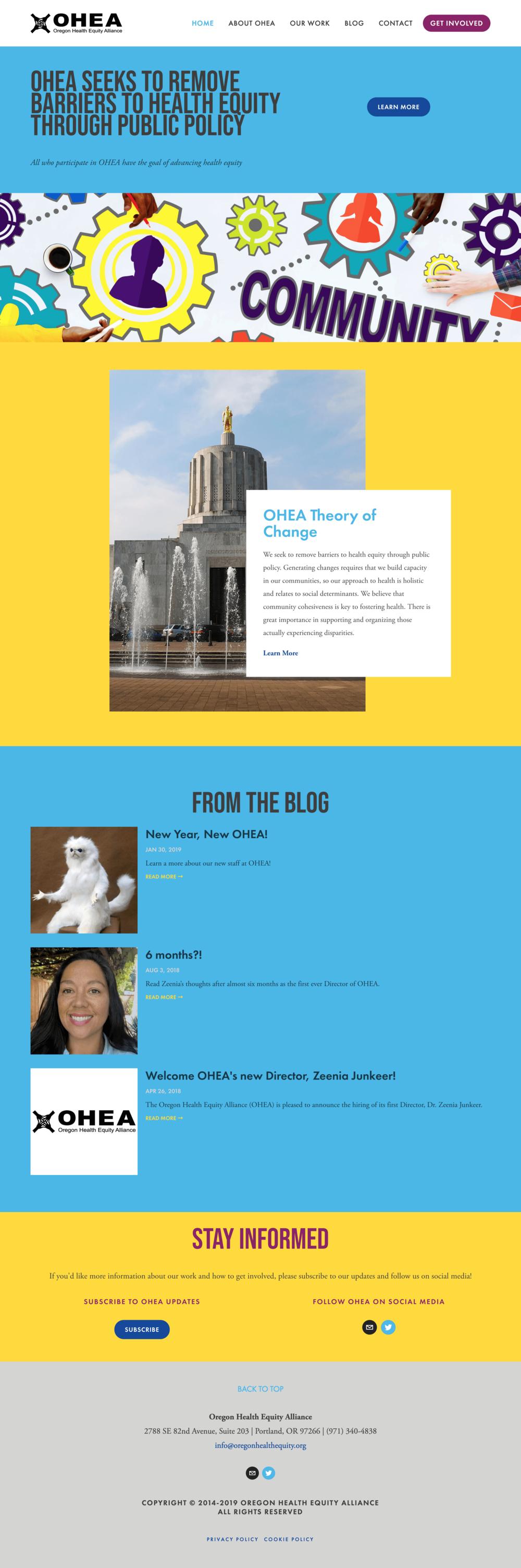 Oregon Health Equity Alliance (OHEA) homepage