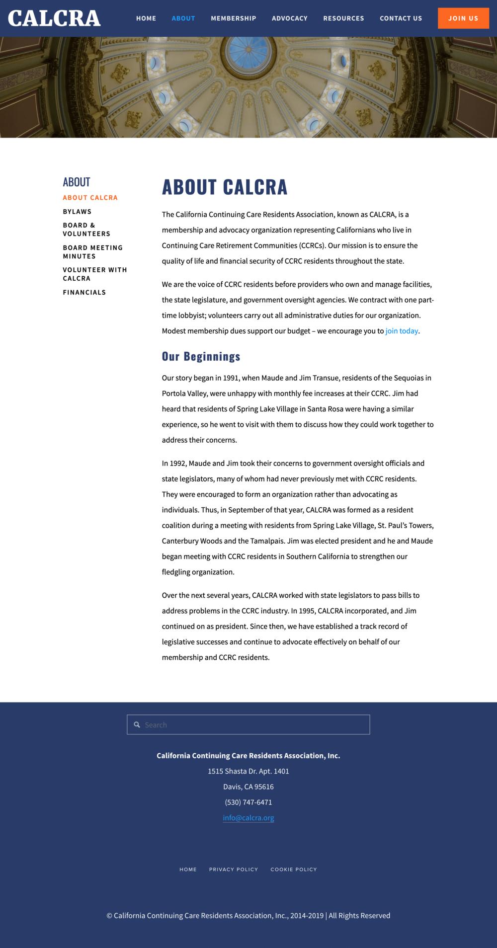 CALCRA About page screenshot