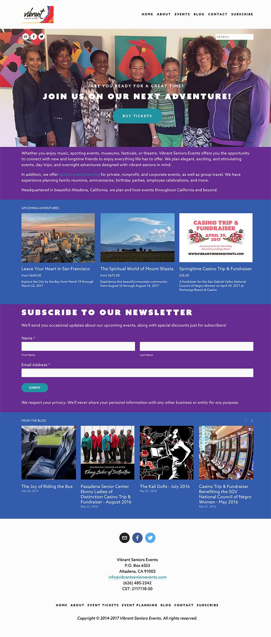 Vibrant Seniors Events website screenshot