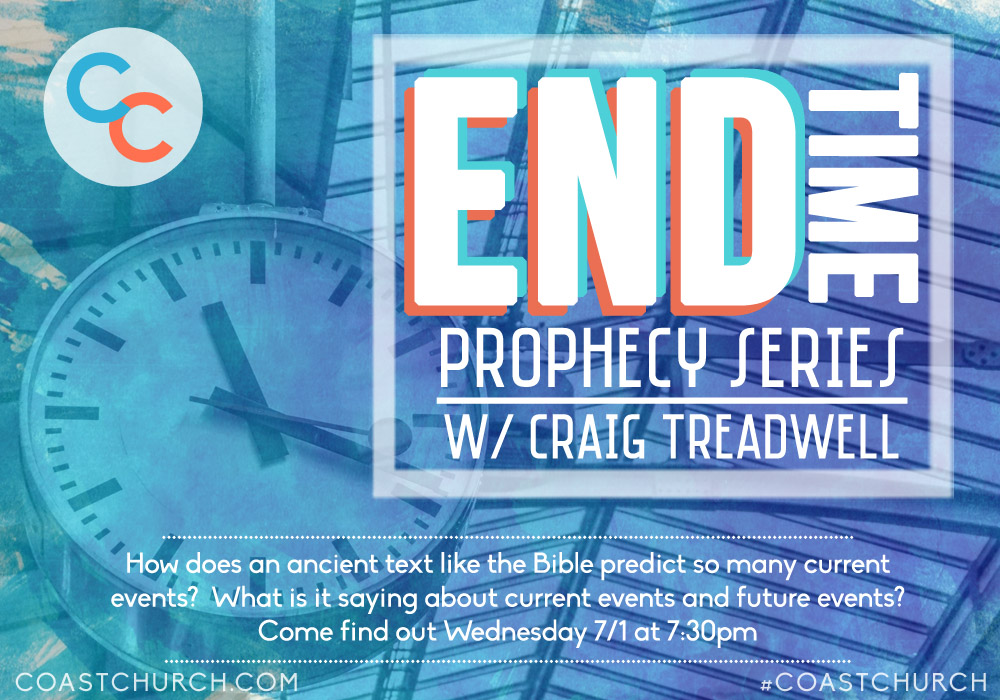 Popular speaker, radio host, TV commentator and End Time Prophecy expert Rev. Craig Treadwell will be joining us on 7/1 (next Wednesday) at 7:30pm in Ventura (location to be determined) to discuss Biblical prophecy, current events, and how they're unfolding today before our very eyes. Invite a friend, co-worker, family member to join you at this engaging, thought provoking night of study. Please email, call, text, DM or @reply with any questions. Refreshments will be provided.