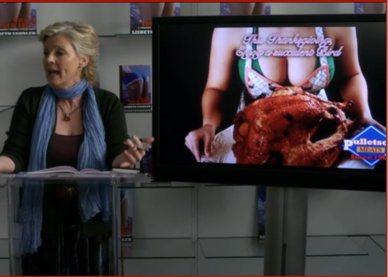 "The fictional author of a feminist text on meat eating showing her slide show from Law & Order: SVU, The ""Beef"" Episode"
