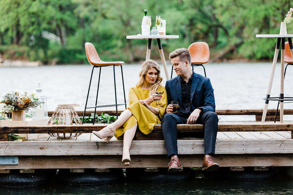 Newlywed Couple Enjoys Cocktails on the Pier