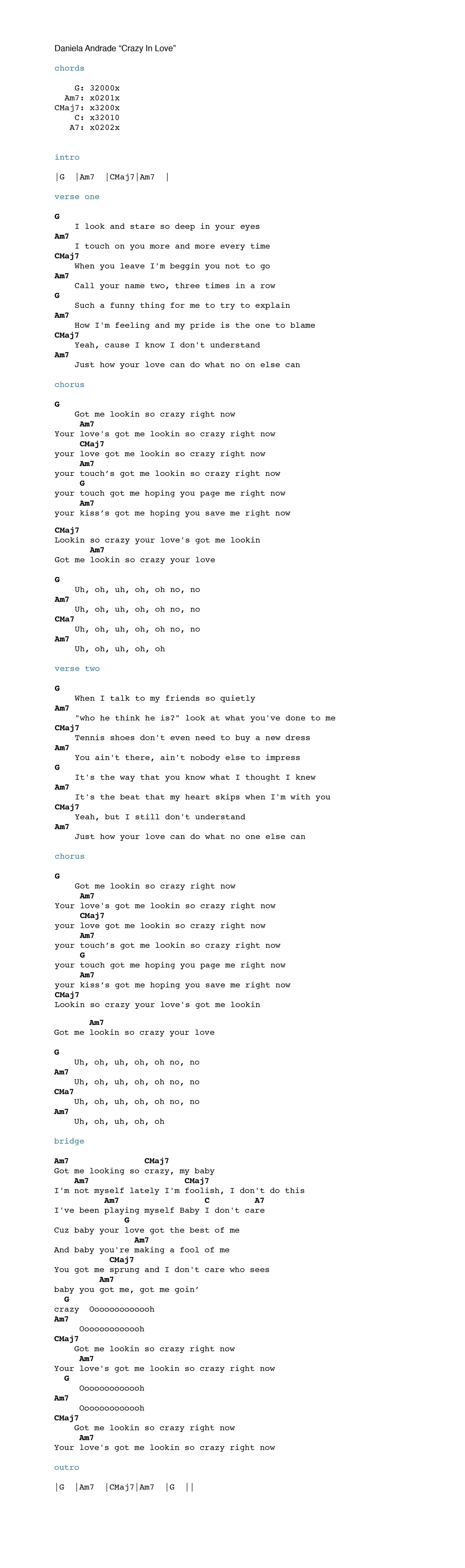 Daniela andrade crazy in love chordistry learn what she did in the video above and use the chord chart below to help you play daniela andredes cover of crazy in love hexwebz Images