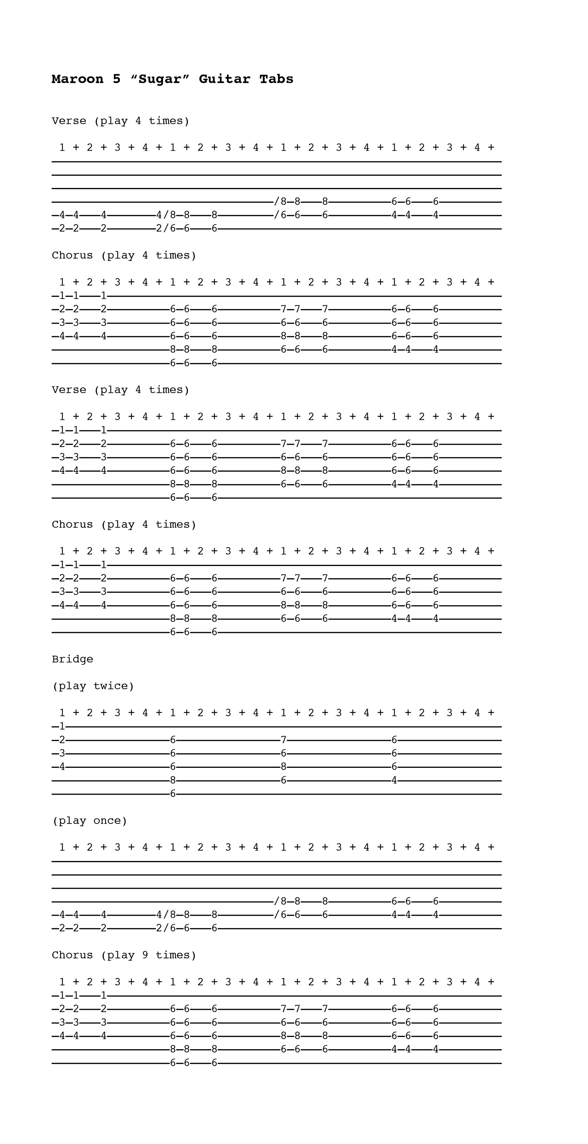 partition guitare maroon 5 sugar