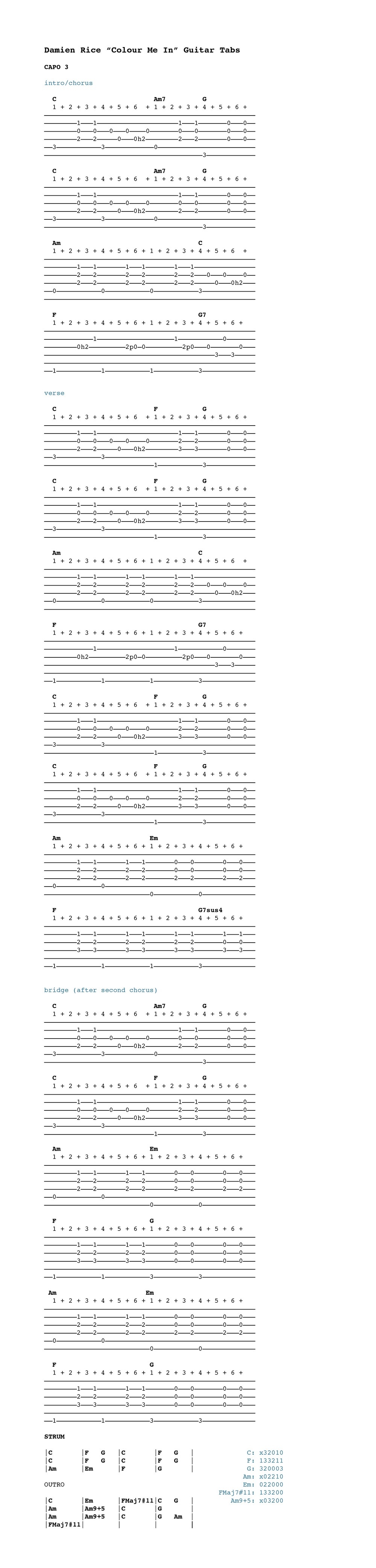 Colour Me In Guitar Tabs