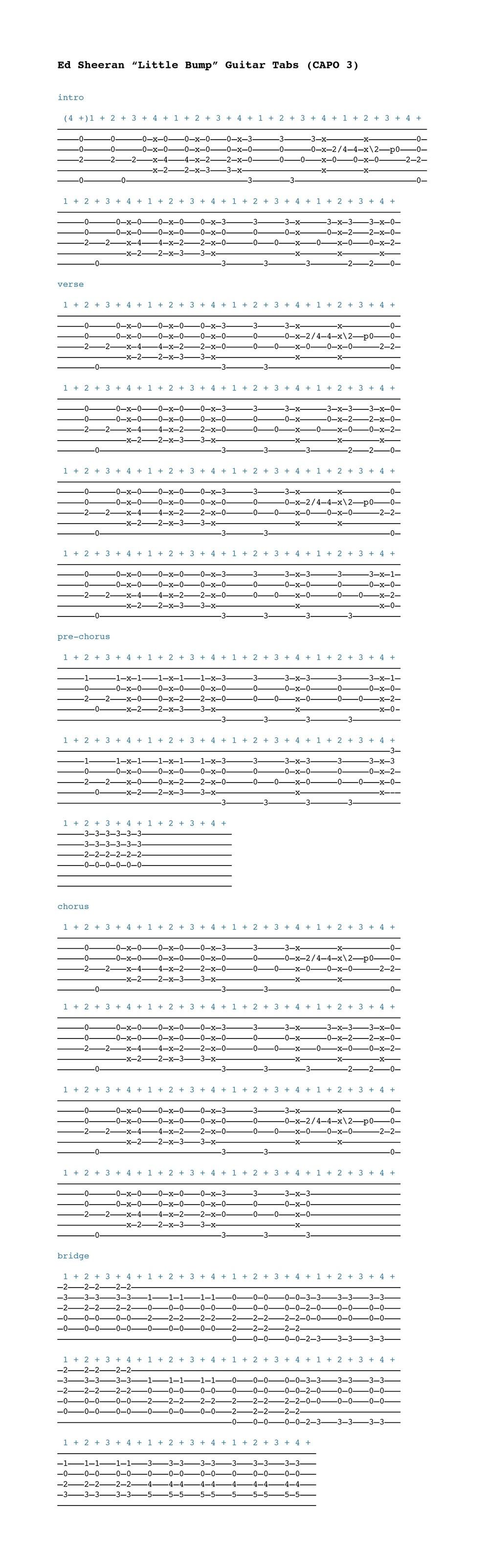 partition guitare small bump ed sheeran