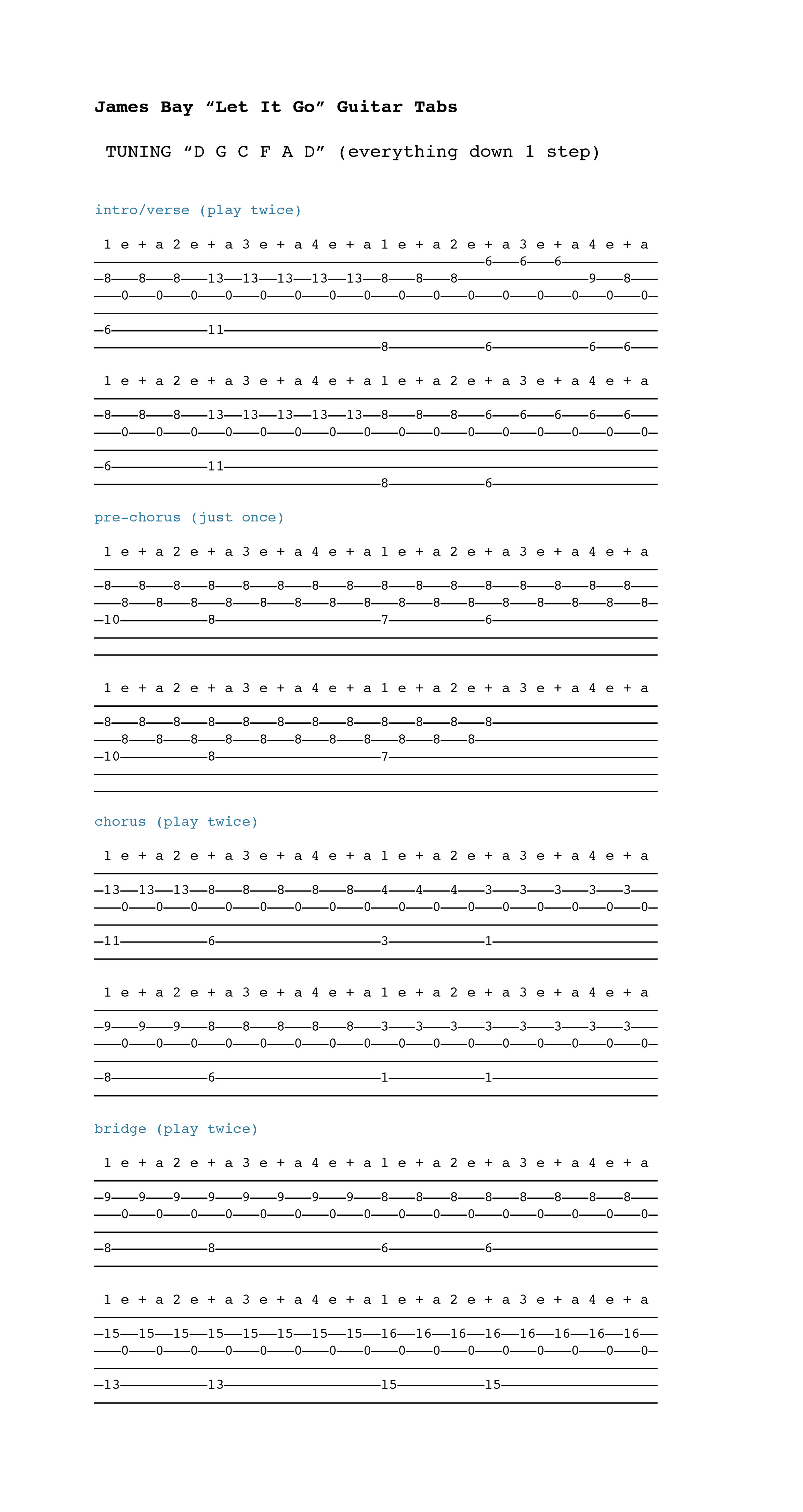 Guitar Chords For Let It Go James Bay Let It Go Sheet Music By