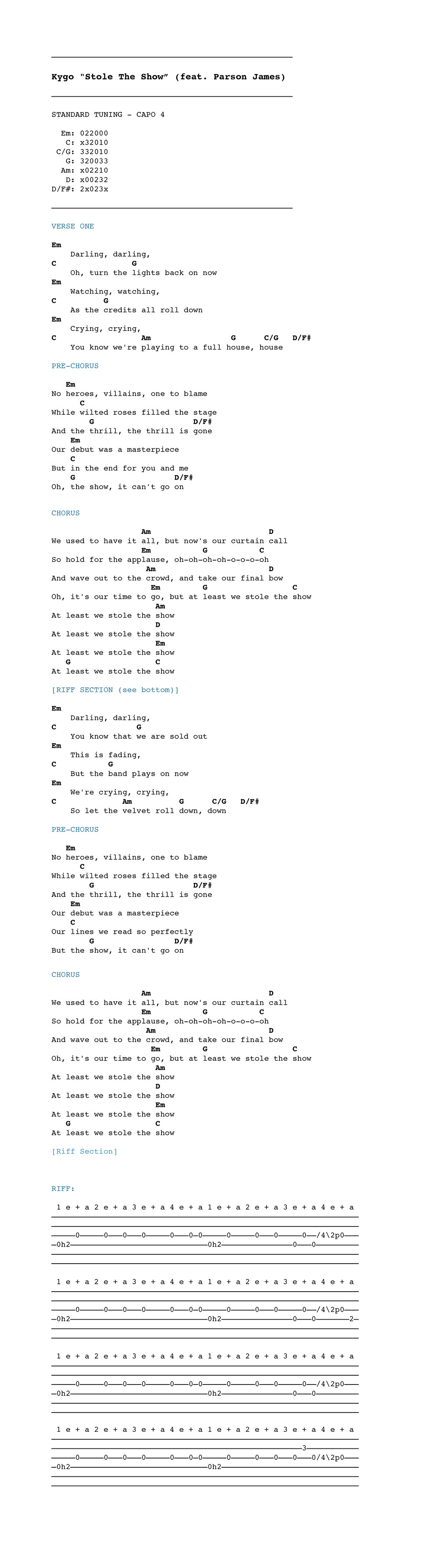 Kygo stole the show feat parson james chordistry download the chord chart here hexwebz Choice Image