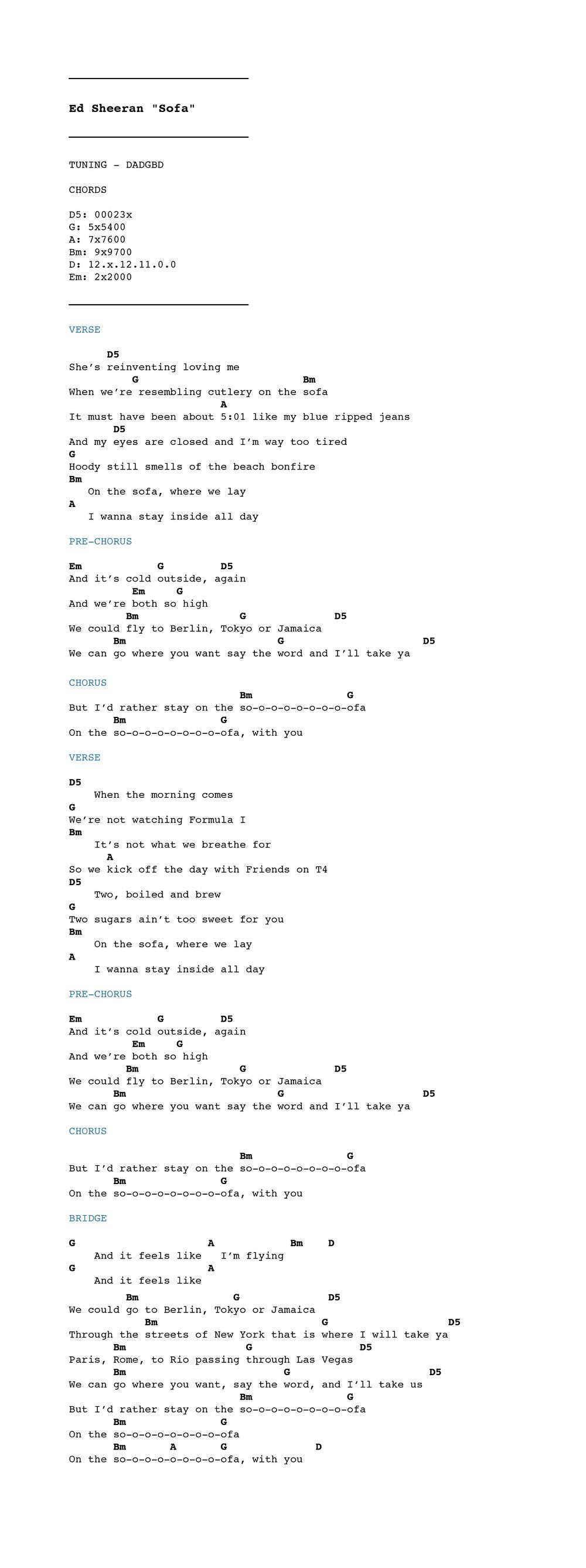 Sofa ed sheeran guitar chords redglobalmx ed sheeran sofa chordistry hexwebz Choice Image