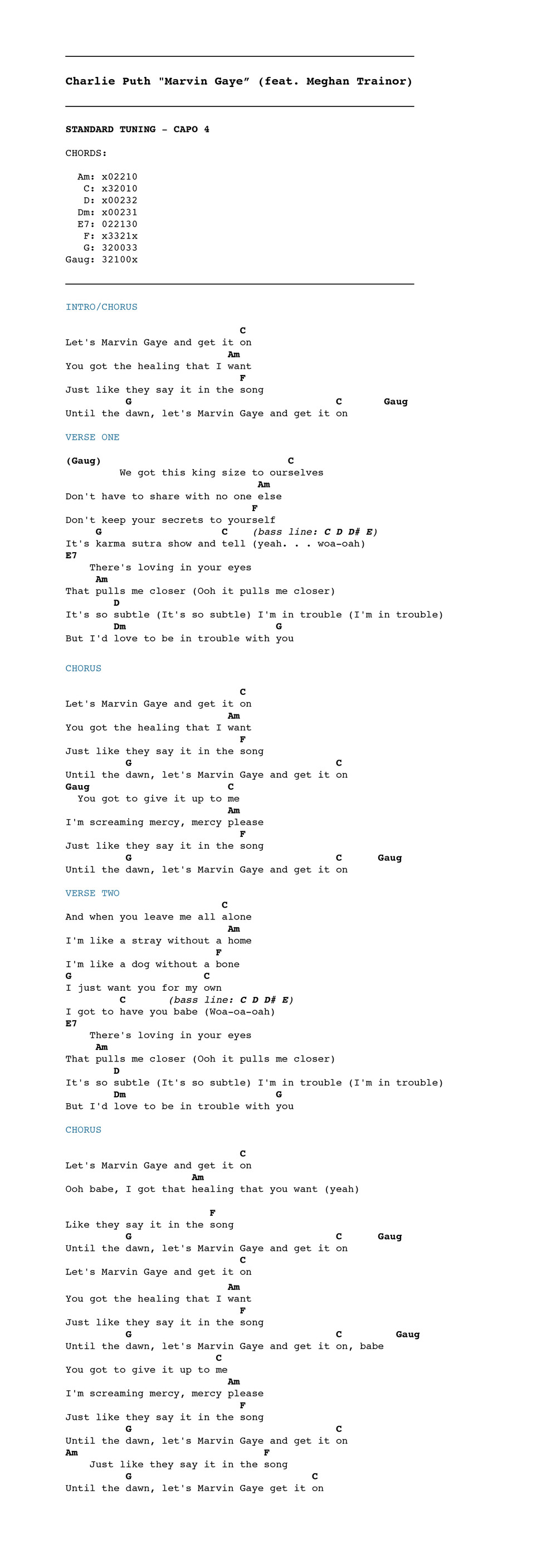 Charlie Puth Marvin Gaye Feat Meghan Trainor Chordistry