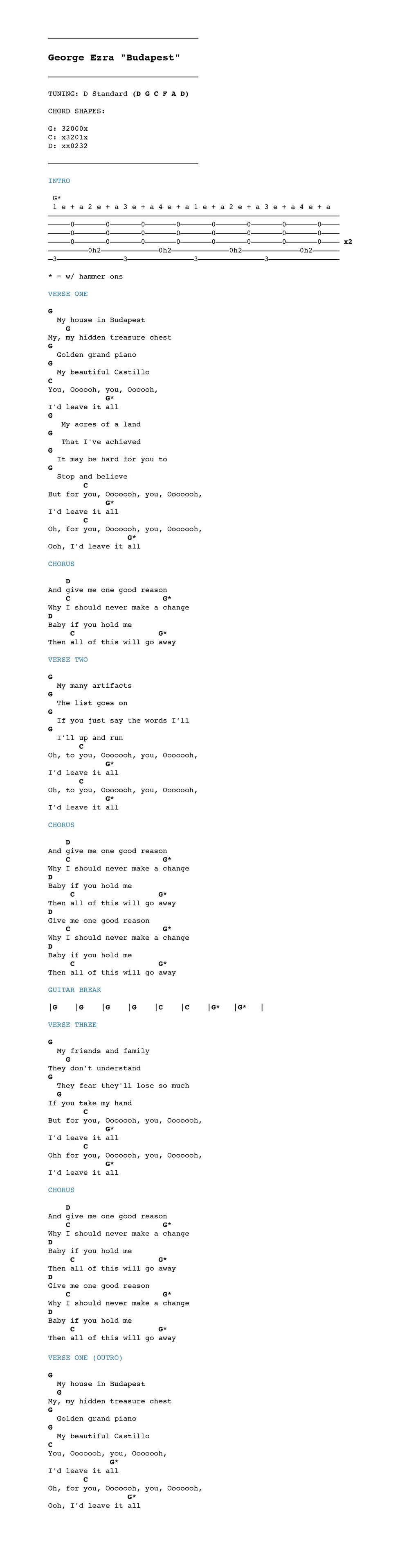 George ezra budapest chordistry check out how to play the chords and fingerpicking patterns in the video above and then use the chord chart below to sing and play along enjoy hexwebz Images