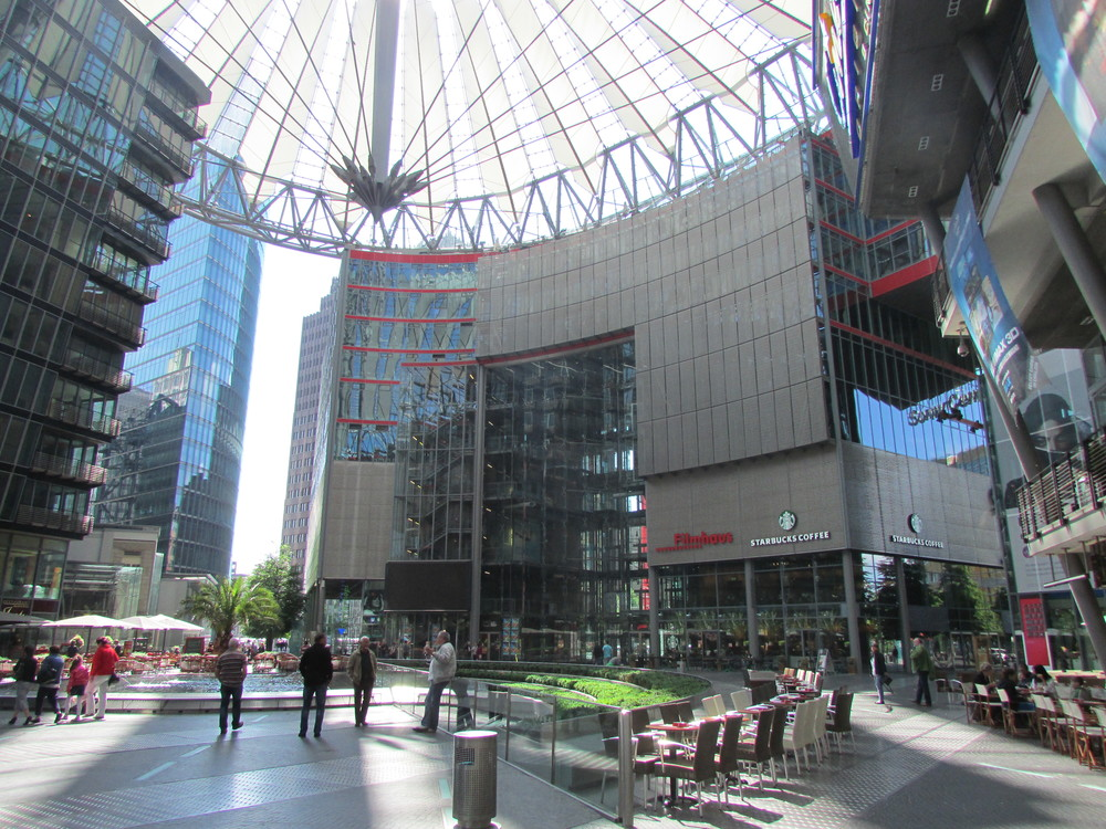 The Sony Center includes a movie theater, several restaurants, a fountain, and of course a Sony store.