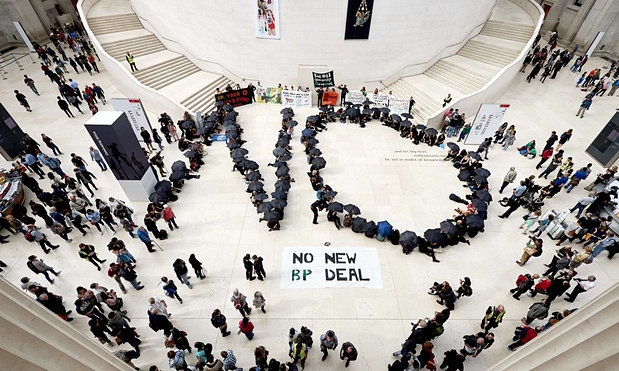 Activists protest BP sponsorships of cultural institutions. Photograph: Niklas Halle'n/AFP/Getty Images. Courtesy of The Guardian.