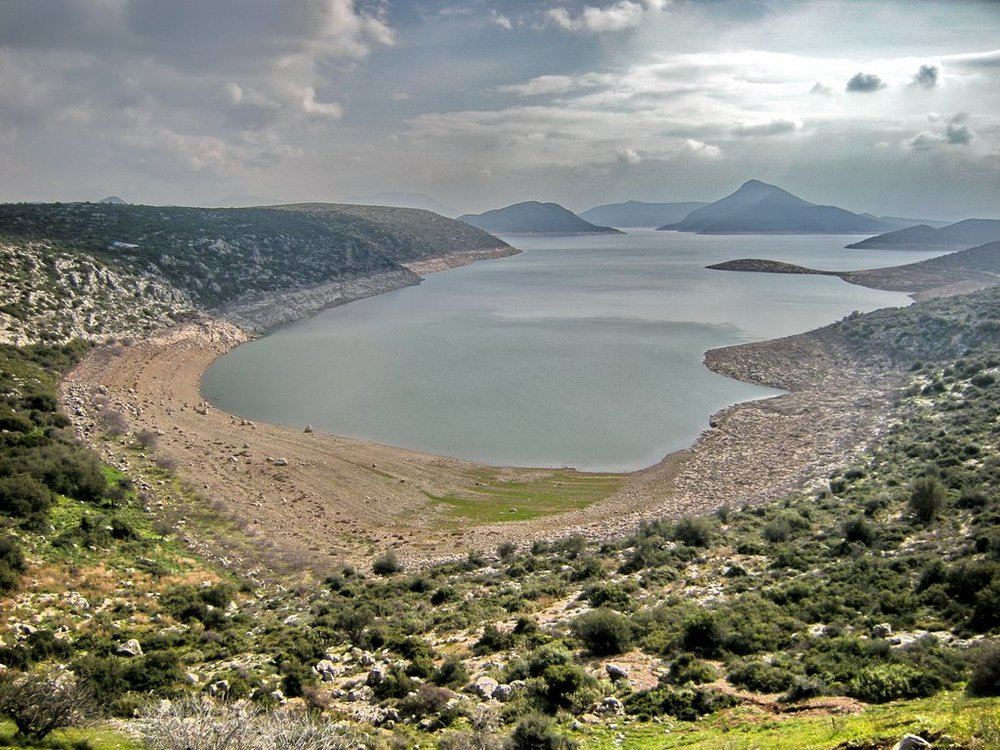 Lake Hylike in modern Viotia, neighboring Lake Kopais described by Theophrastus, during the dry season in summer.
