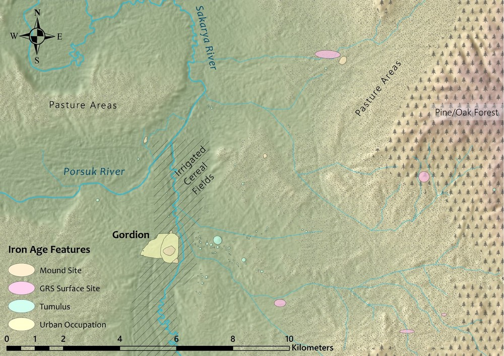 MAP 2: The landscape around Gordion, showing reconstructed vegetation and archaeological sites identified by the Gordion Regional Survey (Kealhofer 2005).