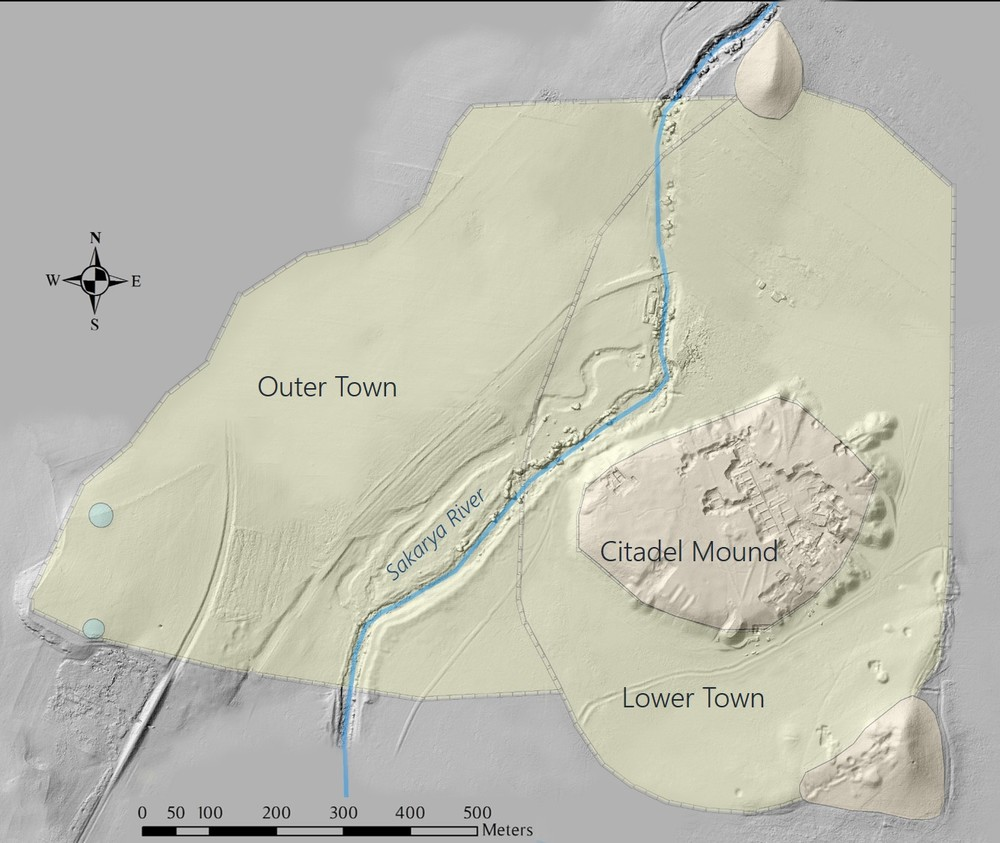MAP 3: The urban center of Gordion with outer fortifications at north and south. In the Iron Age, the Sakarya River would have been on the eastern side of the Citadel Mound. (Credit: Lucas Stephens).