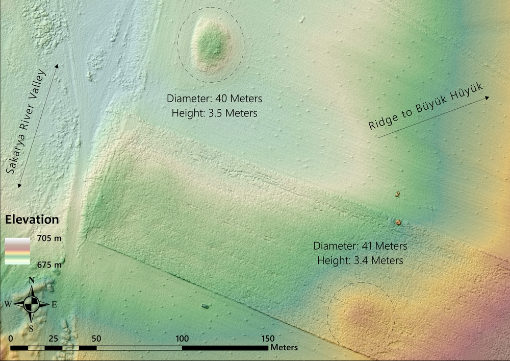 MAP 6: Digital elevation model of two tumuli located at the point where Route A departs the Sakarya valley and begins to ascend a ridge between Gordion and Şabanözü/Büyük Hüyük. Both tumuli have been altered by modern plowing (the small rectangular features are hay bales). (Credit: Lucas Stephens).