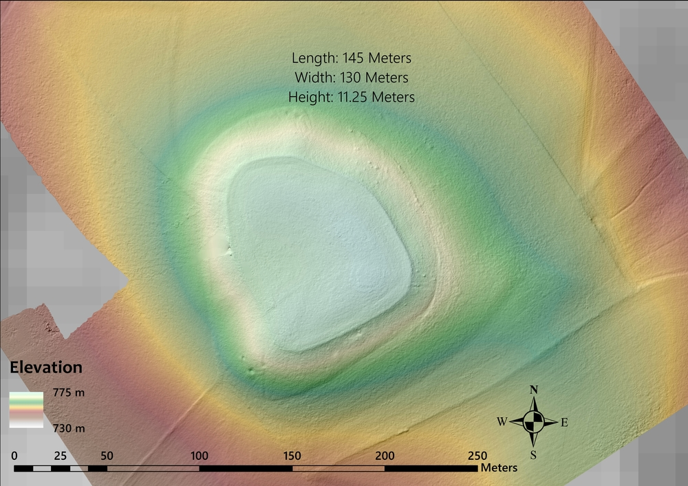 MAP 8: Digital elevation model of a large, flat mound atop the ridge separating Gordion from Şabanözü/Büyük Hüyük. The mound is likely man-made, though no evidence of occupation has been detected. It is possibly an unfinished tumulus. (Credit: Lucas Stephens).
