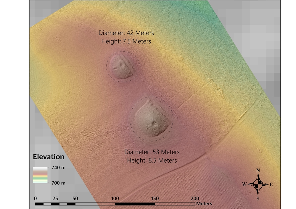 MAP 10: Digital elevation model of two tumuli located where Routes A and B converge. Notice the modern path that partially bisects the tumuli and the looting pits on top. (Credit: Lucas Stephens).
