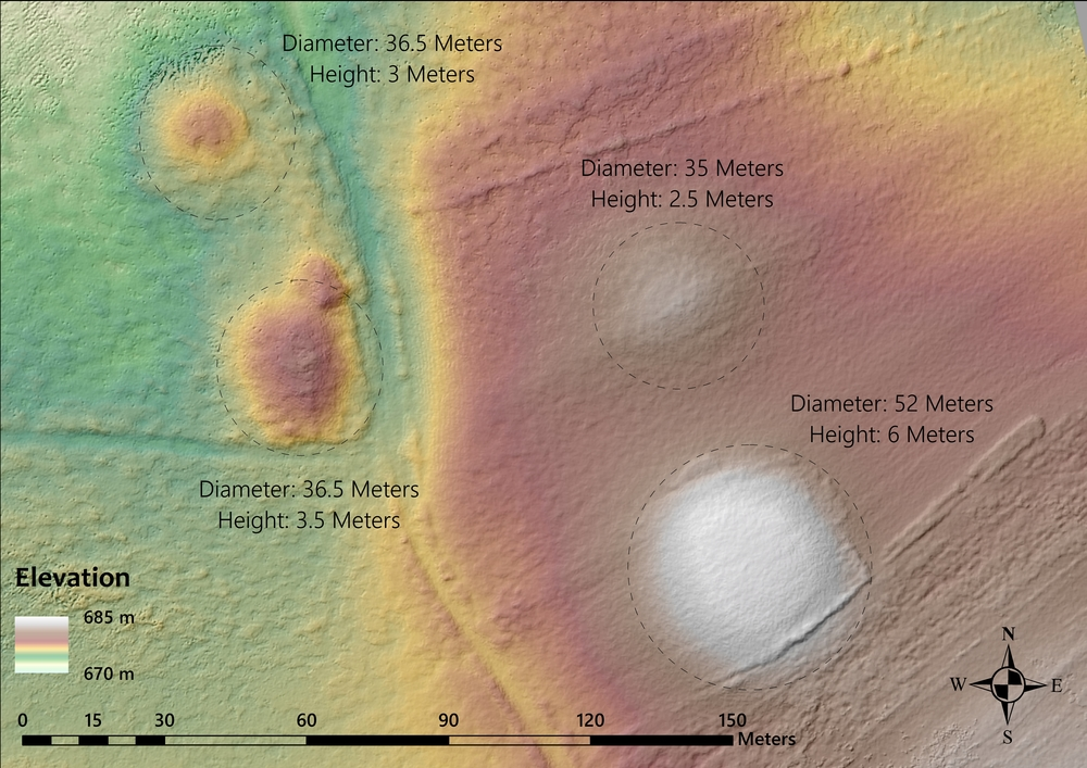 MAP 11: Digital elevation model of four tumuli located where Route B leaves the Sakarya valley and heads east towards Şabanözü/Büyük Hüyük. (Credit: Lucas Stephens).