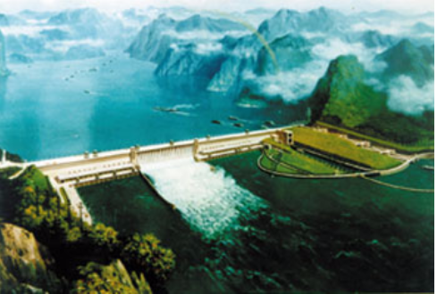 Artist rendering of the TVA-model in China: the Yangtze Valley Authority (now Three Gorges Dam).