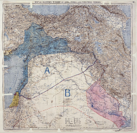 Superimposition of the Skyes-Picot Agreement and political borders, 1916.