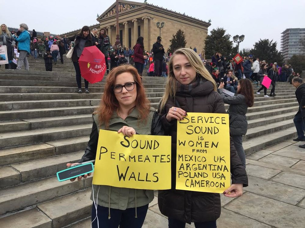 Co-authors and co-creators of Sound Service Maria Murphy and Roksana Filipowska at Women's March Philadelphia, January 21, 2017.