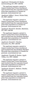 Figure 3: Notices of permit application for polar bear trophy imports. Source:   Federal Register , Vol. 73, No. 92, Monday, May 12, 2008, p. 27005