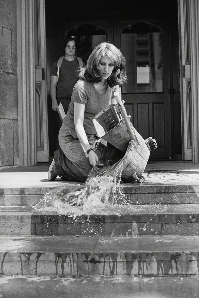 Mierle Laderman Ukeles, Hartford Wash: Washing, Tracks, Maintenance Outside, 1973. Via Artsy.