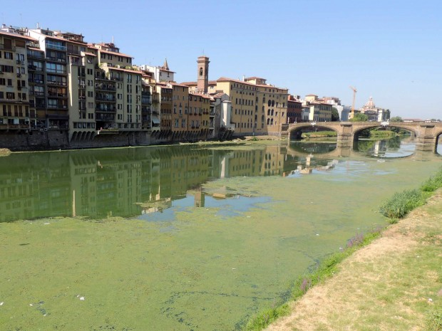 View of the Arno in between Ponte Vecchio and Ponte S. Trinita. From the website of the Italian newspaper La Repubblica, accessed 2017. Photo by Cge Fotogiornalismo.