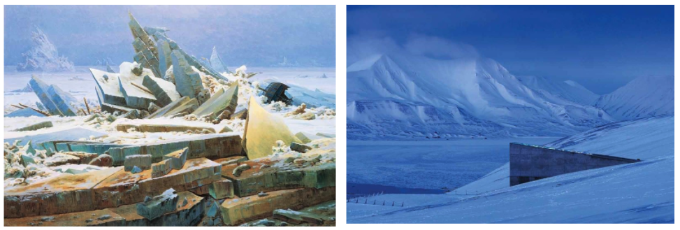 The Sea of Ice, Caspar David Friedrich, 1832         The Svalbard Global Seed Vault, 2008