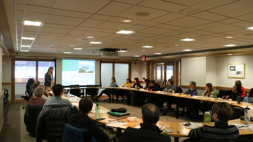 Danielle Kreeger leading discussion at the Scuylkill Corps' bi-weekly seminar this past Fall.