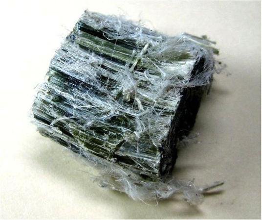 Chrysotile asbestos mineral specimen  Source:  http://skywalker.cochise.edu/wellerr/mineral/asbestos/asbestosL.htm