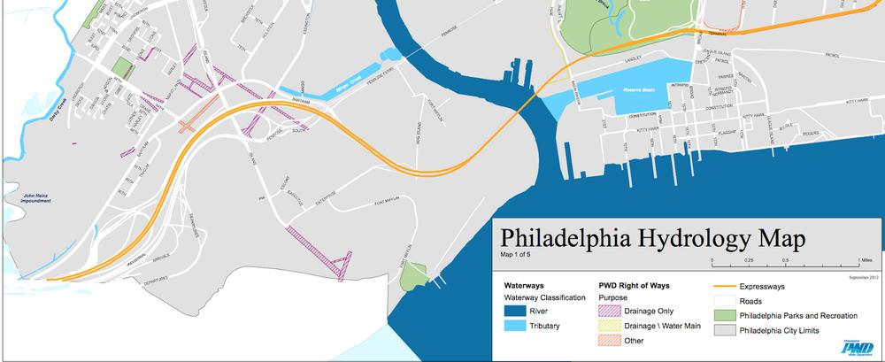 Philadelphia Hydrology Map focused on Mingo Creek (current).  Source