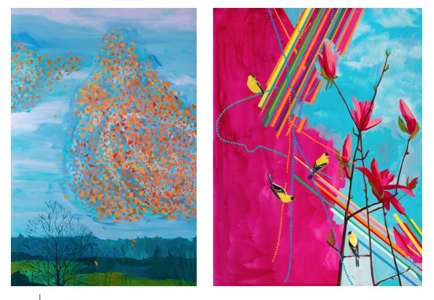 "L-R: Deirdre Murphy, ""  Spontaneous Order,""  Oil on Canvas,  60"" x 40,""  2015;    Deirdre Murphy, ""  Spring Jewel,""  Oil on Canvas,  46"" x 38,""  2015 (  Courtesy of Gross McCleaf Gallery.)"