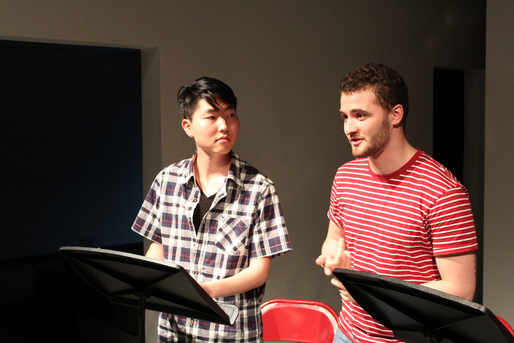 PPEH Undergraduate Fellows Carlos Price-Sanchez and Seung-Hyun Daniel Chung share their culiminating project  Paper Waters:Dreams  at Slought, May 2018. (Patricia Kim/PPEH)