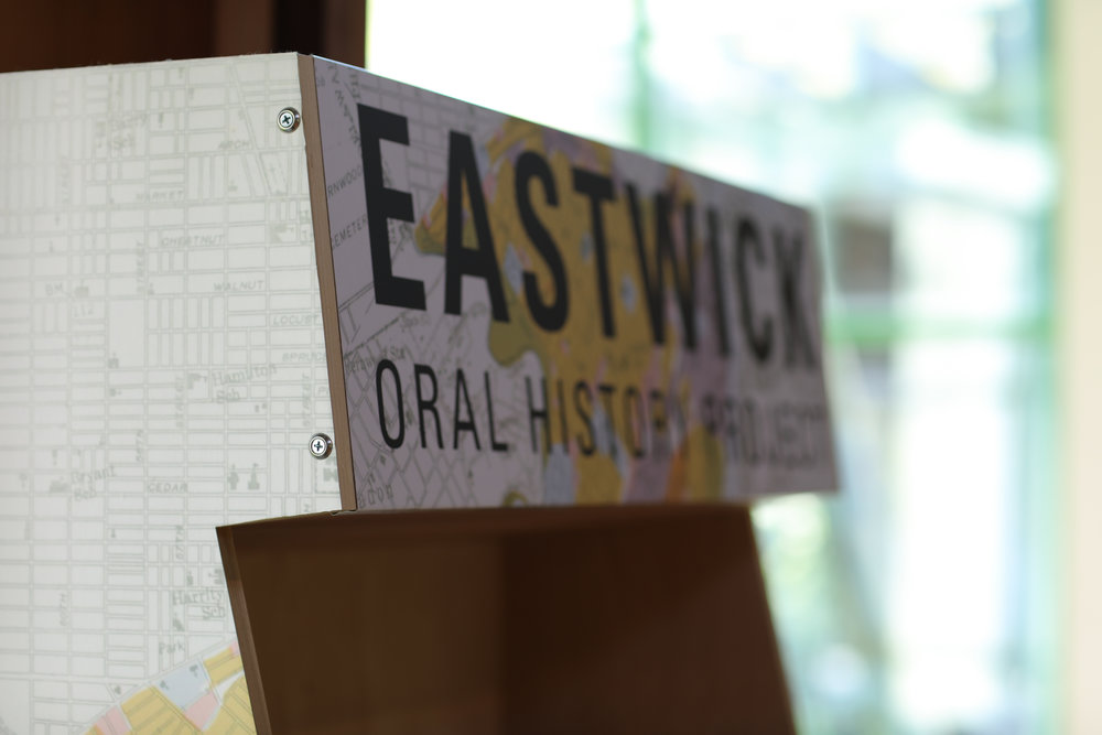 Documentation of the Eastwick Oral History Project Kiosk at John Heinz National Wildlife Refuge at Tinicum (William Hodgson/PPEH)
